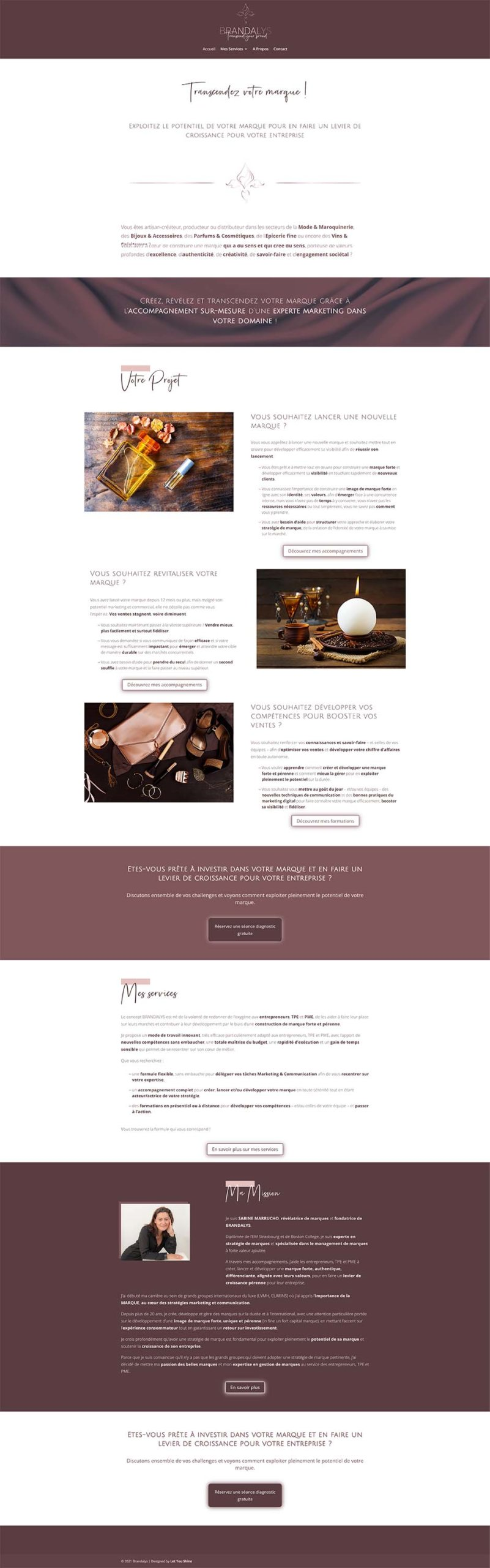 Brandalys - page site web - révélation d'univers de marque par Virginie Gruber - Let You Shine - graphiste et webdesigner intuitive